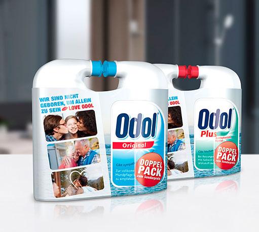 Odol Mundspülung im Badezimmer