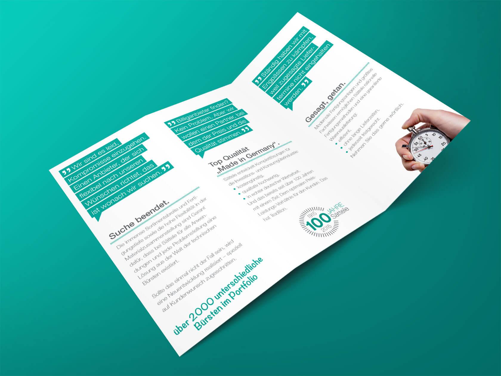 Sättele GmbH & Co. KG Flyer, Layout und Gestaltung