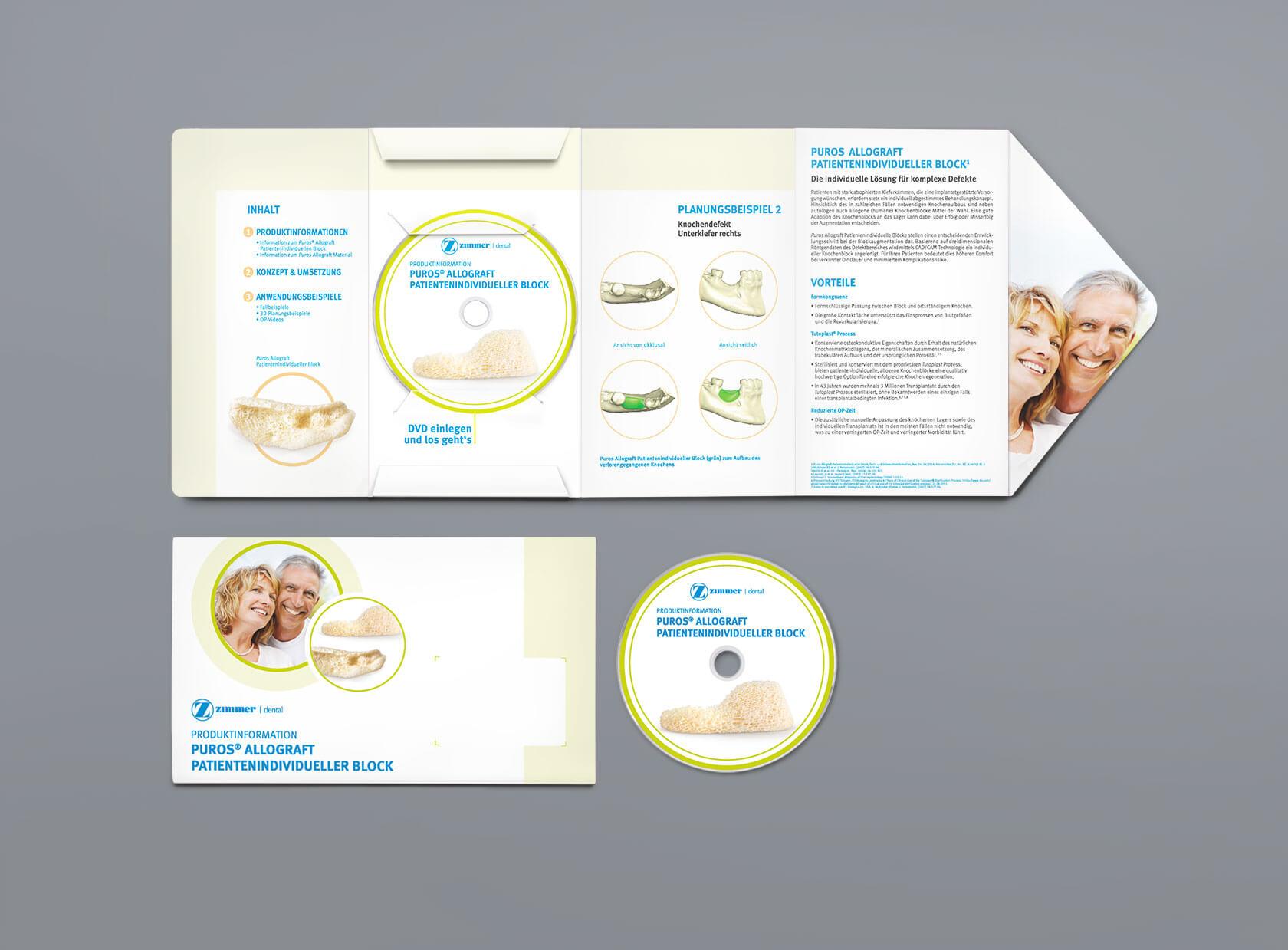 Zimmer Dental CD und Folder Design und Text