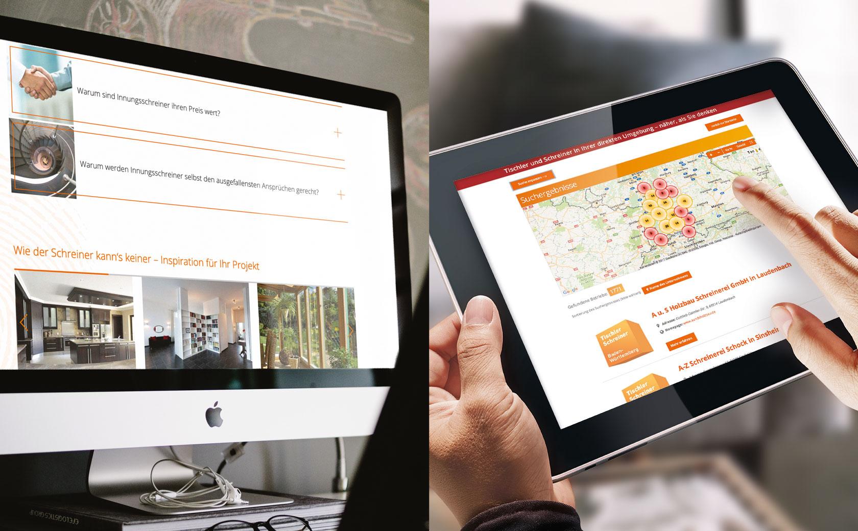 Landingpage Schreiner finden Desktop Tablet