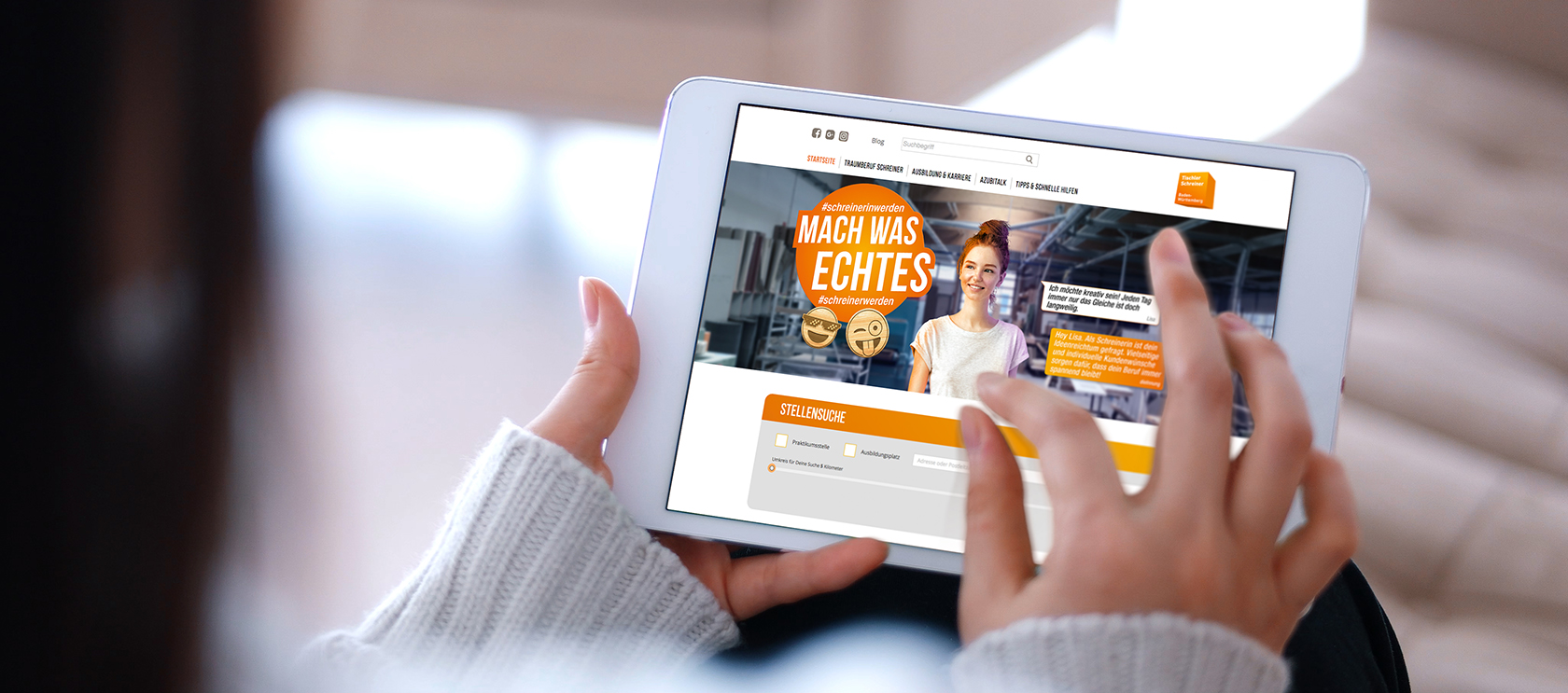 Landesfachverband Schreinerhandwerk – Landingpage auf Tablet